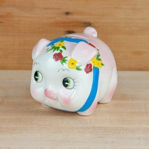 Vintage Pink Pig Piggy Bank with Flowers & Ribbon